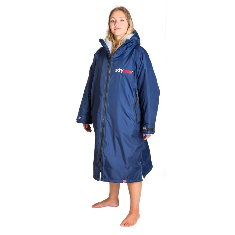 navy grey Dryrobe on lady