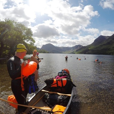 Canoe and swimmers, Buttermere