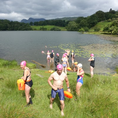 Swimmers in Loughrigg Tarn