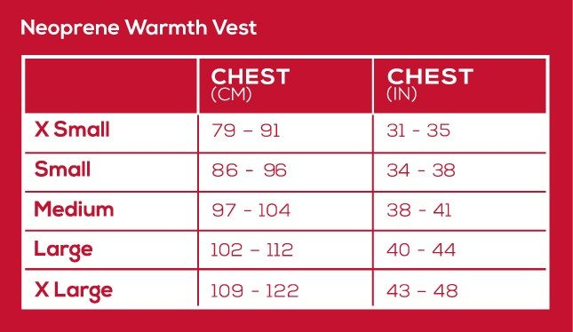 neoprene warmth vest size chart