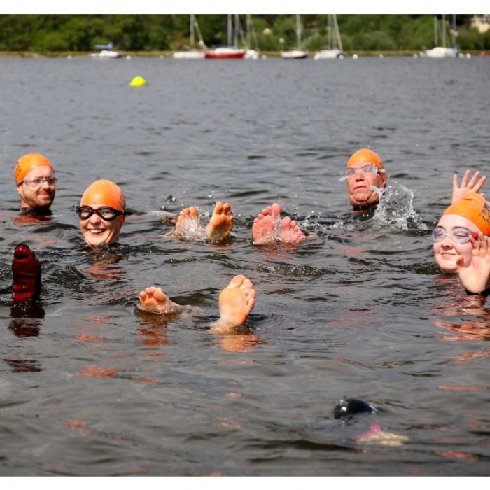 swimmers acclimatising in Windemere