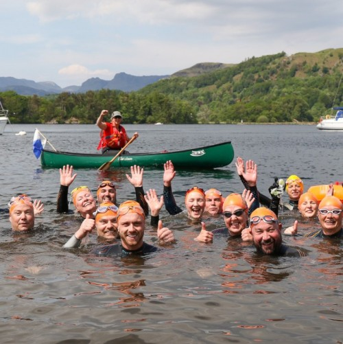 group of swimmers in Windermere