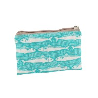 Teal Fish fabric purse