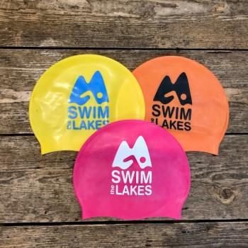 3 swim caps, yellow, orange, pink