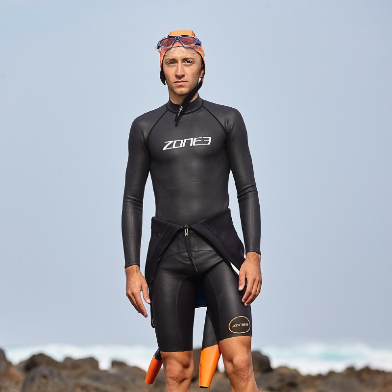 man wearing zone3 long sleeve neoprene Baselayer
