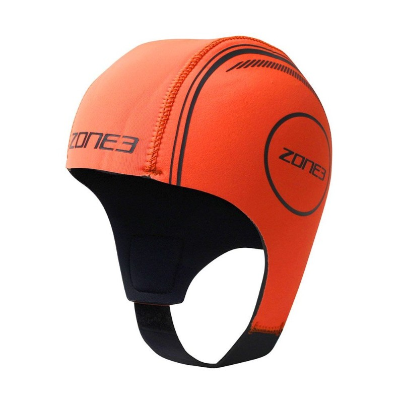 shows hi-vis orange neoprene swim cap with chin strap