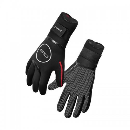 pair of neoprene zone3 heat-tech swim gloves