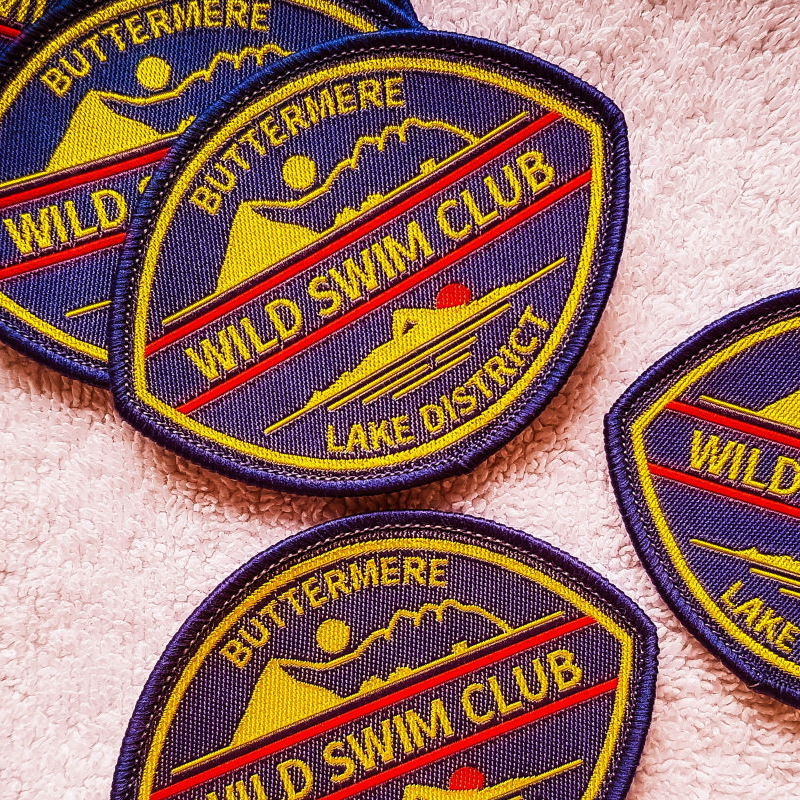Wild swim Sew-on badge Buttermere blue