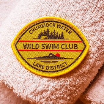 Wild swim Sew-on badge Crummock Water yellow