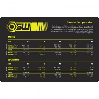 Size chart for Genesis wetsuit