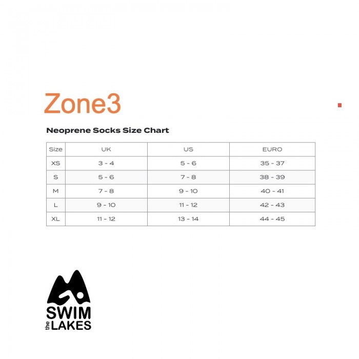 Zone3 neoprene sock size chart