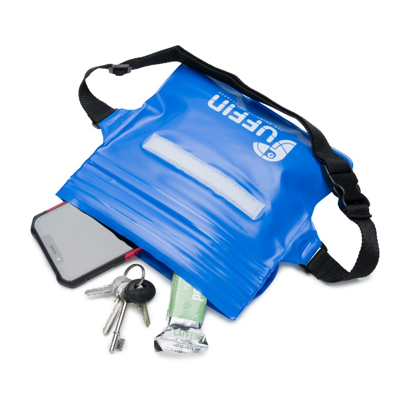 Puffin Swim Waterproof Waist pouch blue showing contents inside